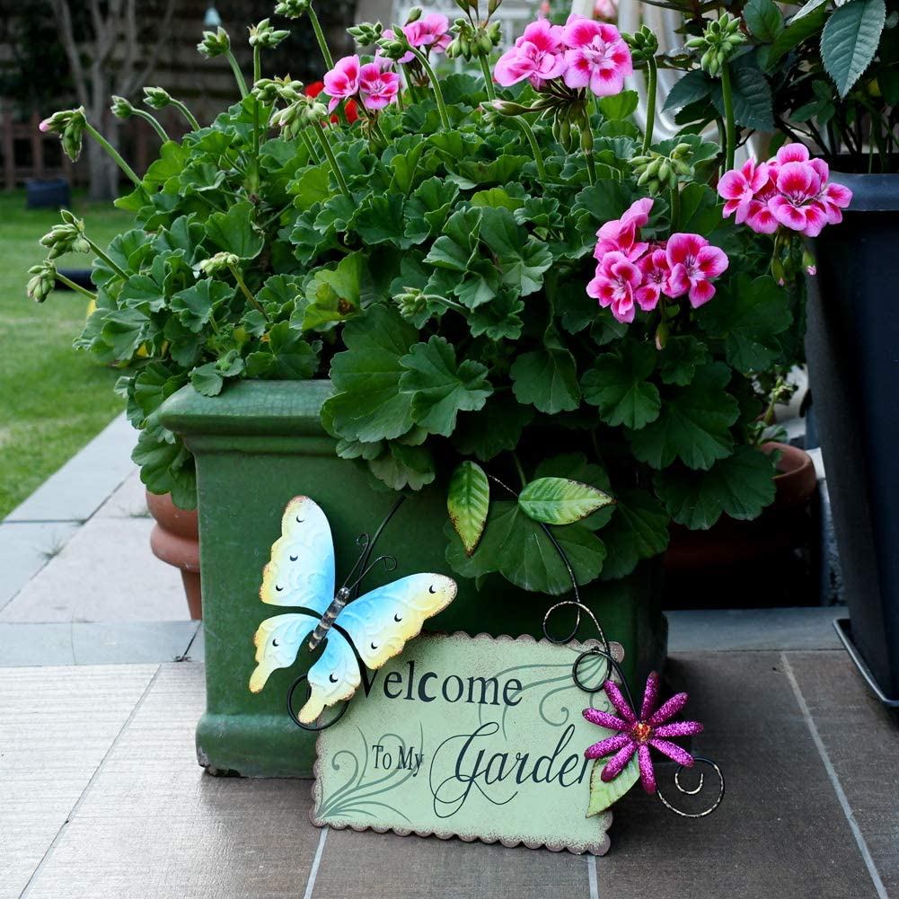 Morning View Vintage Metal Bless This Garden Sign with Butterfly ...