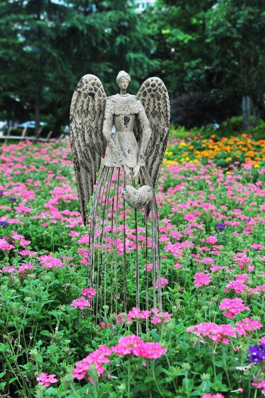 Antiqued Metal Garden Angel Statue Yk Decor
